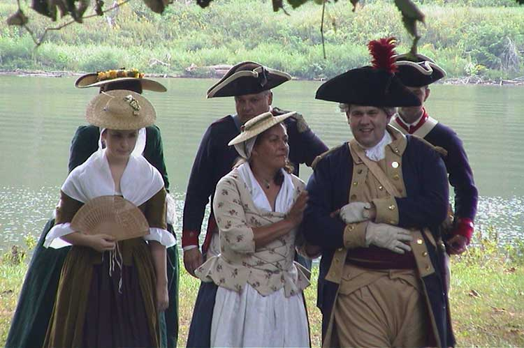 General Harmar Escorts The Ladies From The Fort To The Fourth Of July Celebration.