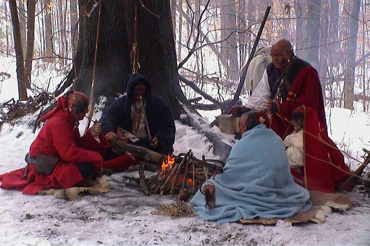 Native Americans In Winter Camp.